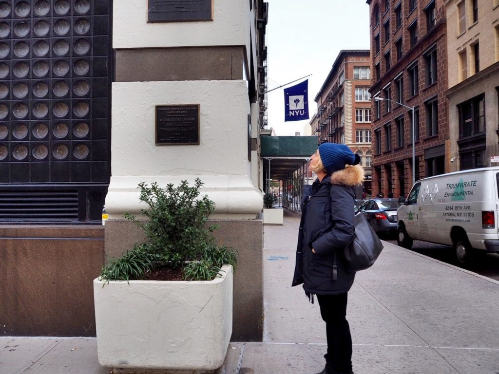 Amy Richards in front of the site of the Triangle Shirtwaist Fire © | Nikki Vargas