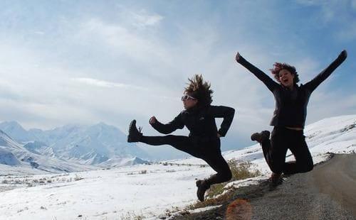 A victory jump in Alaska (Kae Lani)