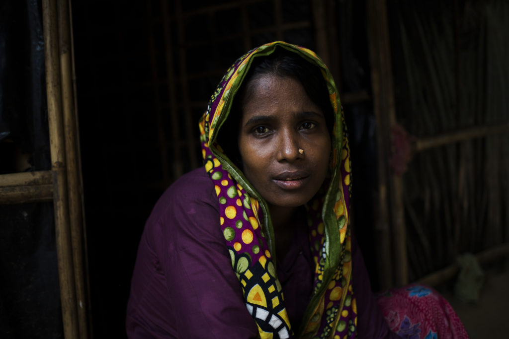 Amina, her husband, and their three living sons have been living on the Kutupalong refugee camp for 9 months. © | Hailey Sadler