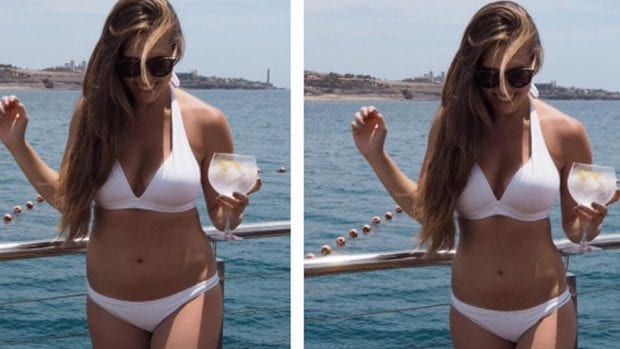 Amelia's Instagram post that compared her read body vs. a photoshopped image | © xameliax