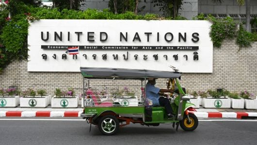Outside the United Nations office buildings in Bangkok | © Lilian Suwanrumpha/Getty Images