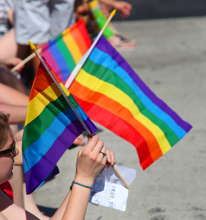 Pride flags waving in a parade. | © courtesy of Wikipedia