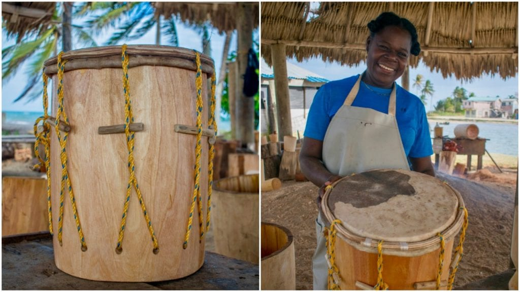 Daytha Rodriguez smiles with one of her drums | © Jessica Vincent