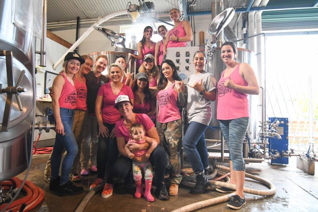 Pink Boots Society members brew Pussy Grabs Back   © Courtesy of Honolulu BeerWorks