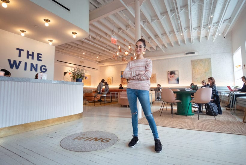Audrey Gelman stands in the lobby of The Wing SOHO | © Phil Provencio/Unearth Women