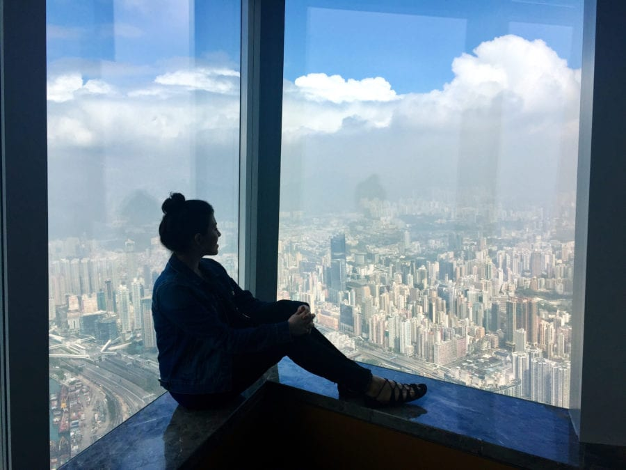 The author looks out at Hong Kong from the Ritz Carlton | © Nikki Vargas