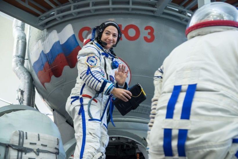 NASA astronaut Jessica Meir climbs aboard a Soyuz trainer | © Beth Weissinger/NASA