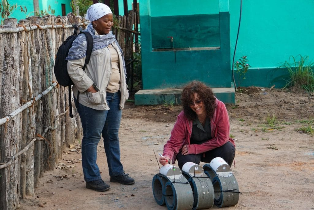 Dr. Michelle Henley of Elephants Alive and veterinarian Julieta Lichuge of ANAC preparing the tracking collars | © Emily Scott/ Blue Sky Society