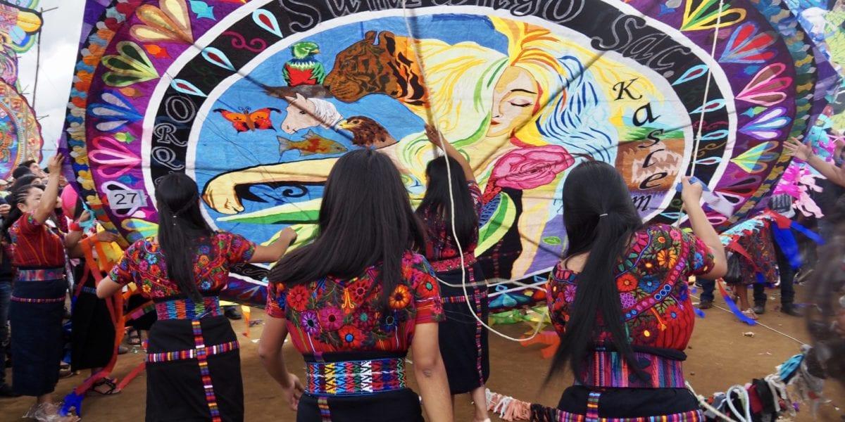 The Orquideas Oficial get ready to fly their handmade kite at Guatemala's kite festival in Sumpango   © Nikki Vargas/Unearth Women